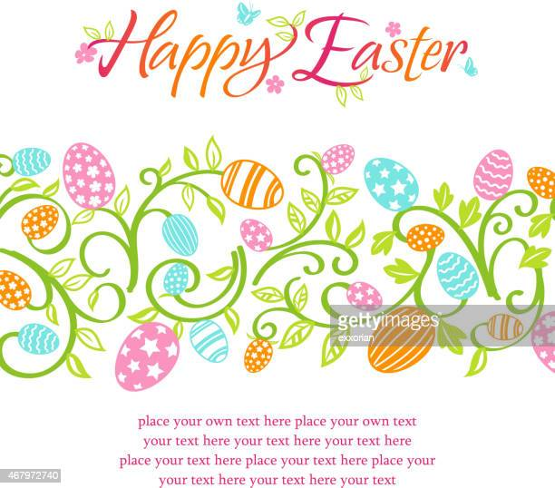 Happy Easter Eggs Floral Banner