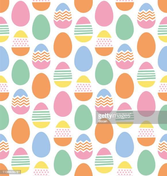 happy easter eggs seamless pattern - easter stock illustrations