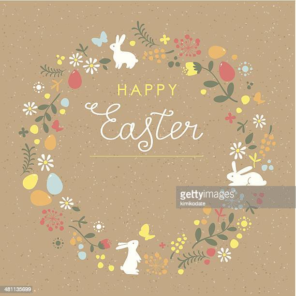 happy easter floral wreath brown paper card - easter stock illustrations