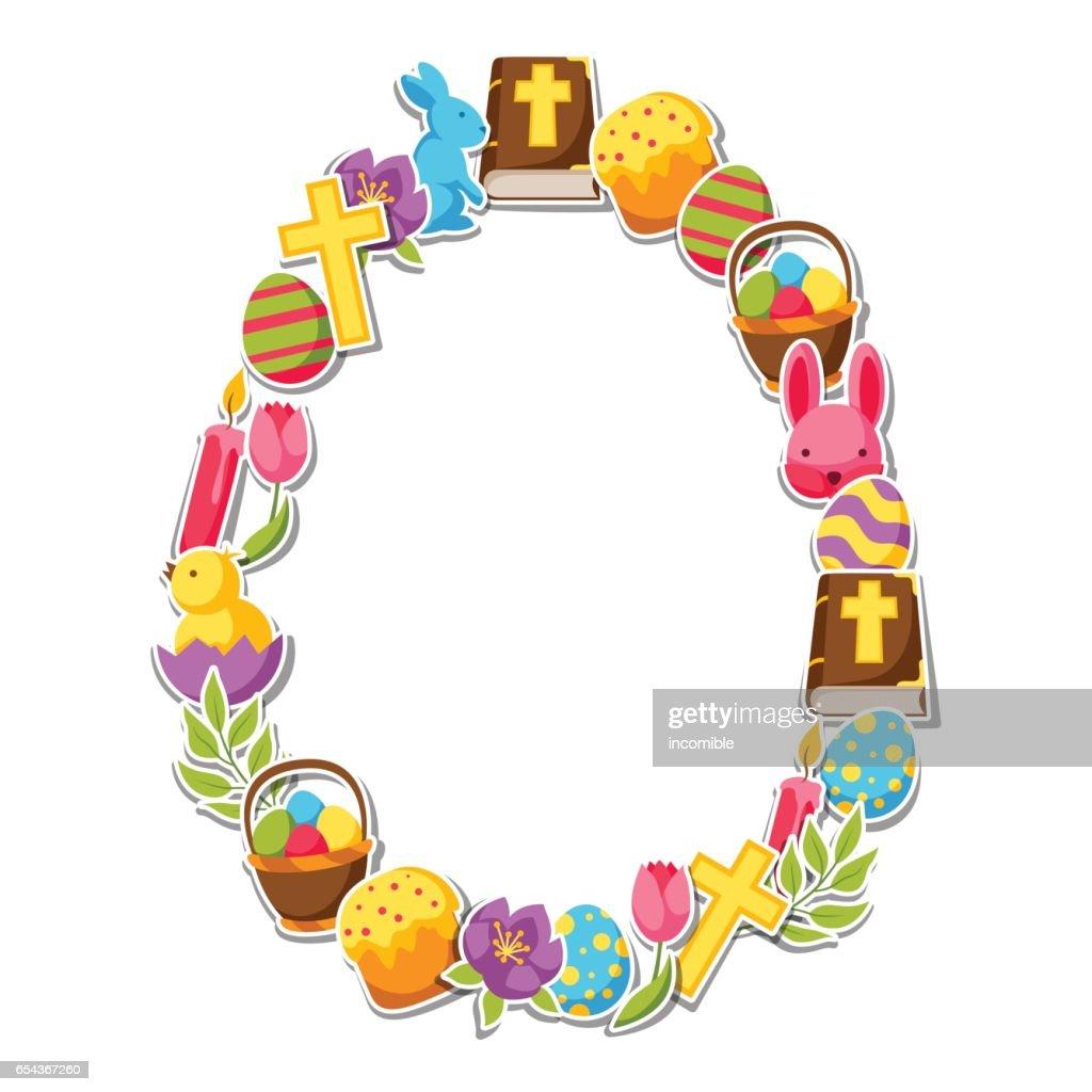 Glückliches Ostern Rahmen Mit Dekorativen Objekten Eiern Und Hasen ...