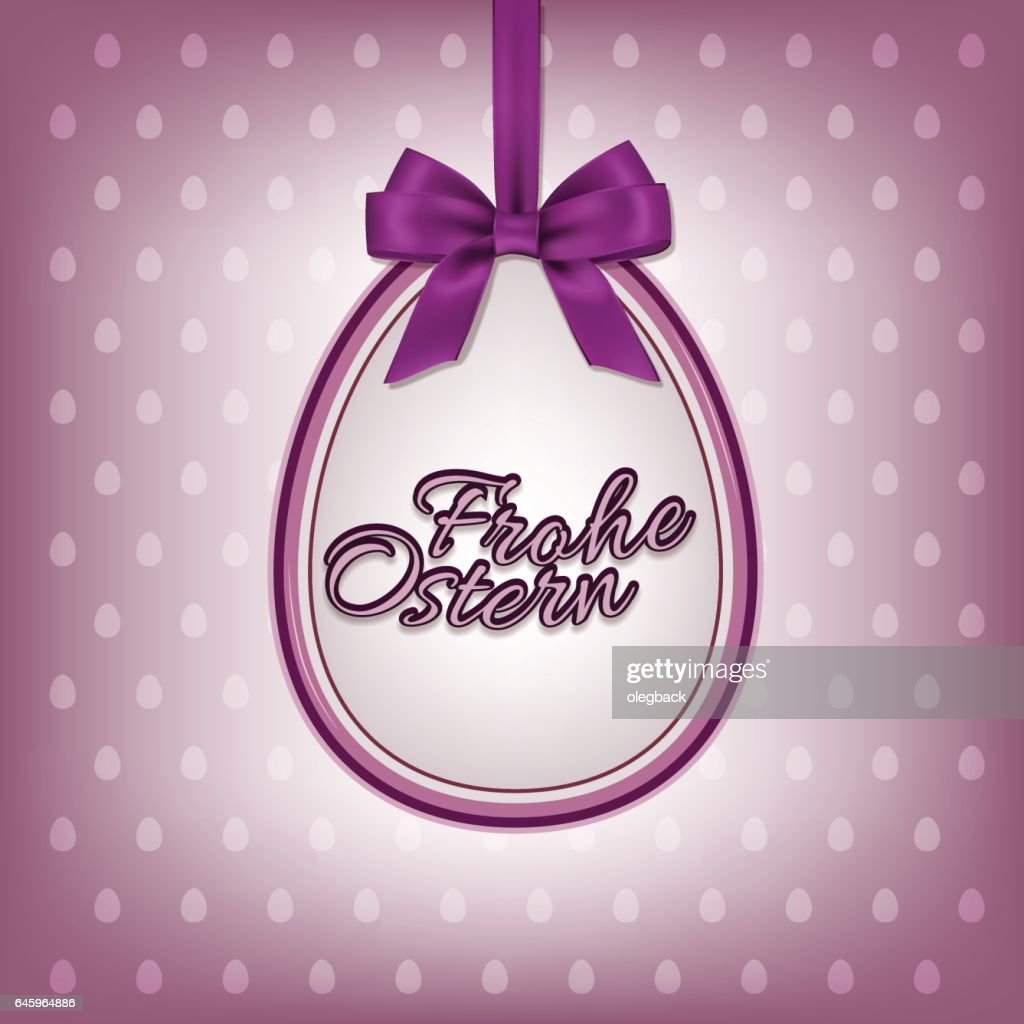 Happy Easter greeting card template with German Frohe Ostern text.