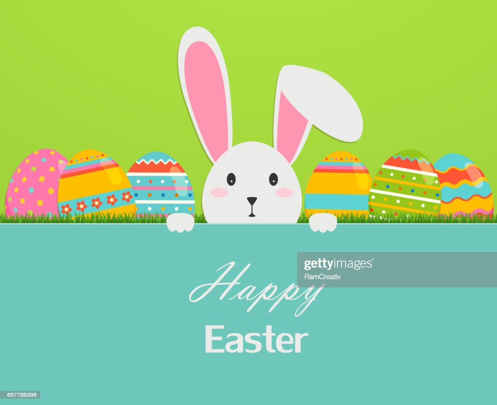 Happy easter greeting card with eggs, grass, and rabbit.