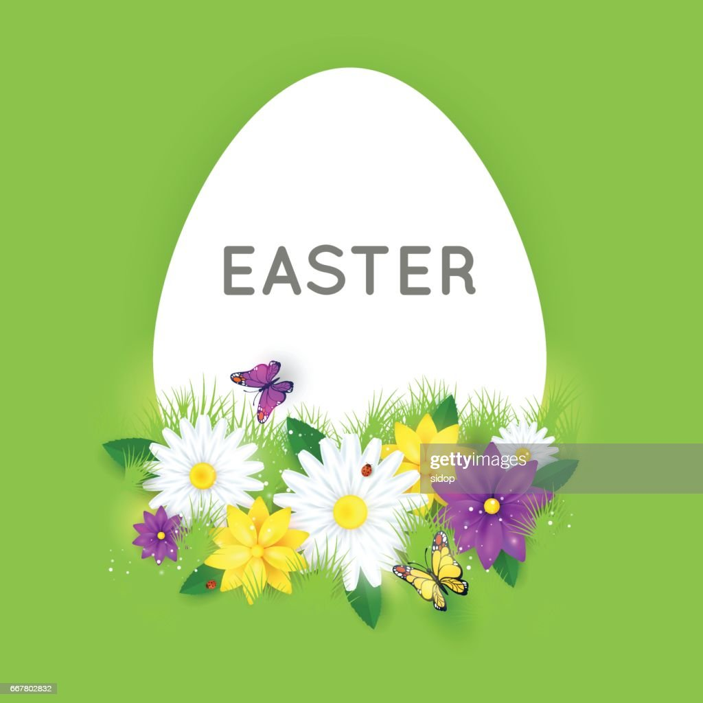 Happy Easter Greeting Card With Flowers Eggs Poster Vector