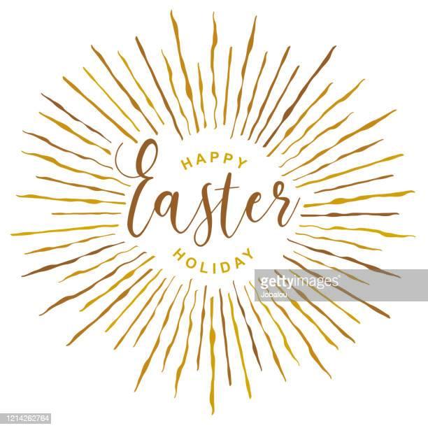 ilustrações, clipart, desenhos animados e ícones de feliz feriado de páscoa com doodle golden rays - metereologia