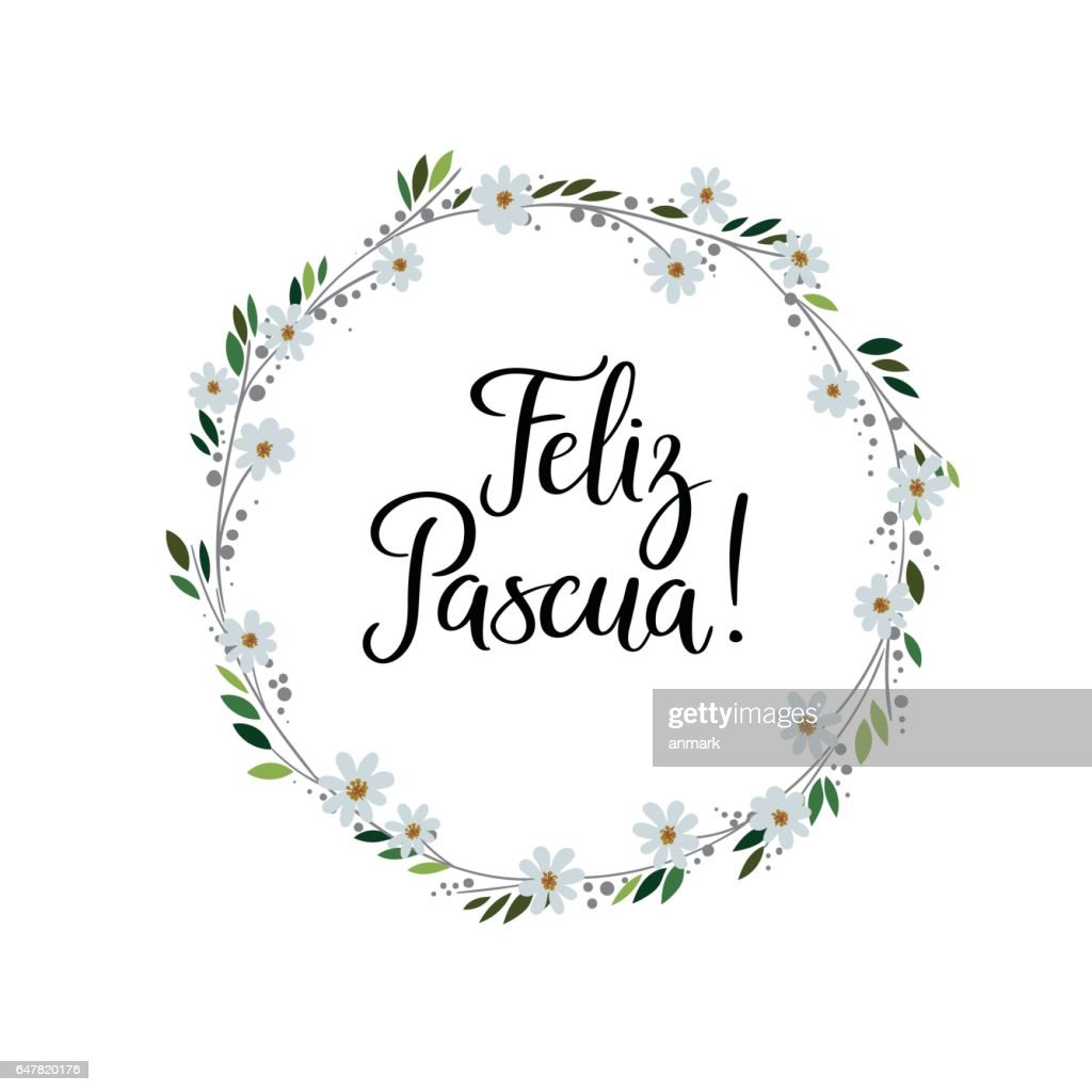 Happy easter in spanish modern calligraphy greeting card brush happy easter in spanish modern calligraphy greeting card brush lettering vector art m4hsunfo