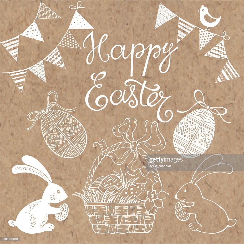 Happy Easter.  Isolated design elements for invitations, greeting cards, flyers.