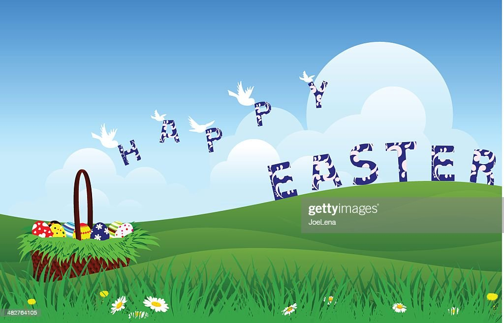 happy easter landscape vector art getty images