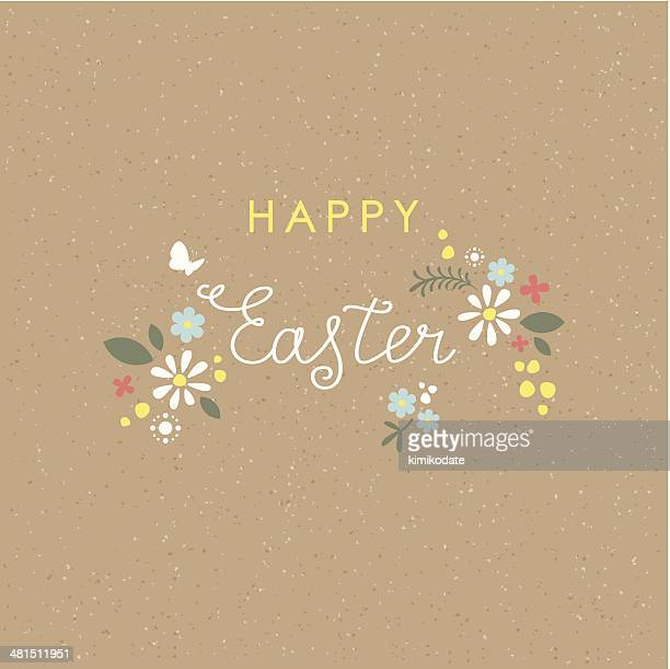 Happy Easter lettering floral brown paper card