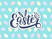 Happy easter lettering logo on seamless easter eggs background.