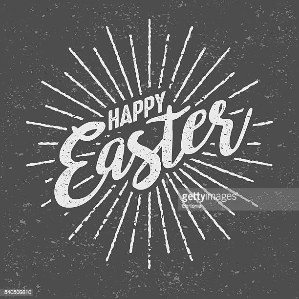 Happy Easter Message Vintage Screen Print