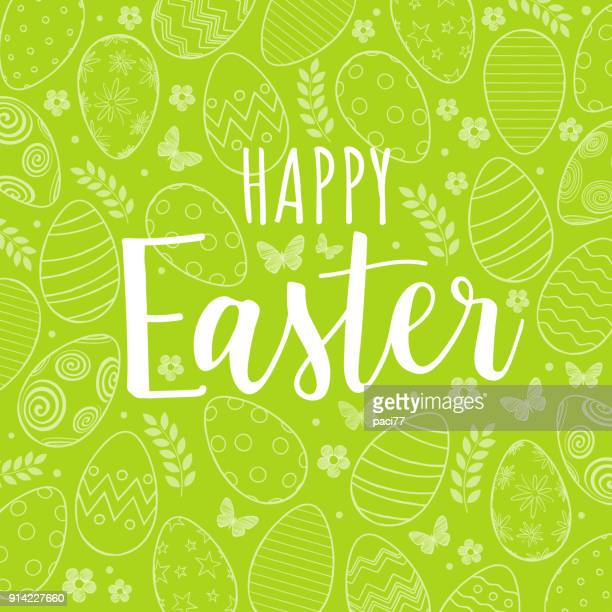 happy easter on green background with pattern of easter eggs, flowers and butterfly - easter stock illustrations
