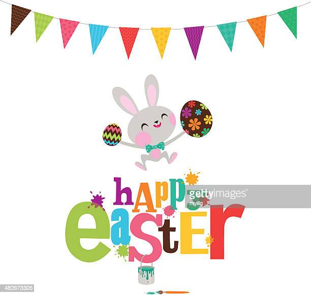 happy easter party bunny eggs paint rabbit illustration vector - easter bunny stock illustrations