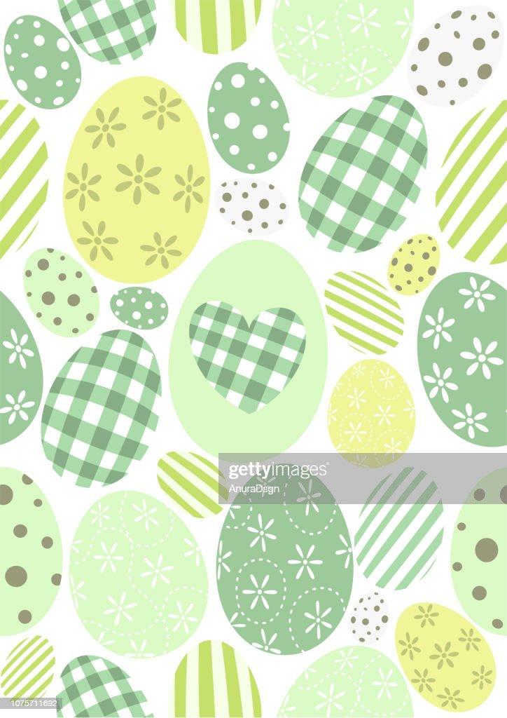 Happy Easter pattern - pastel green eggs