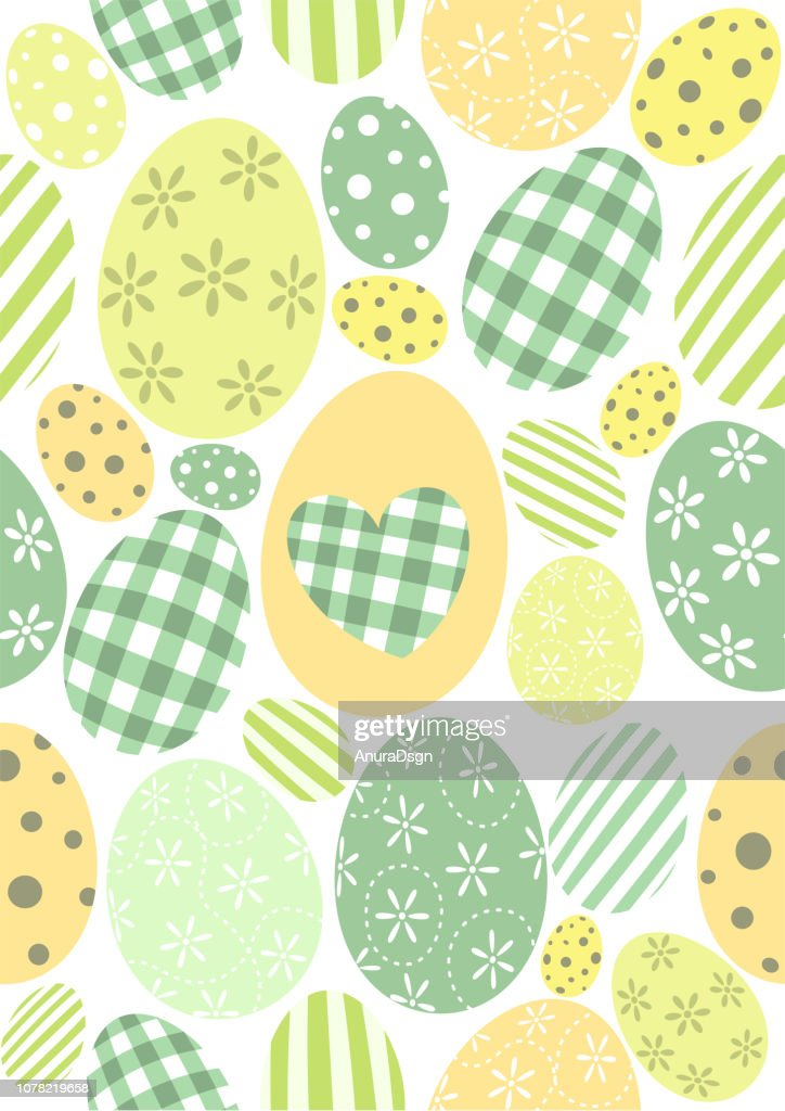 Happy Easter pattern - pastel green orange and yellow eggs