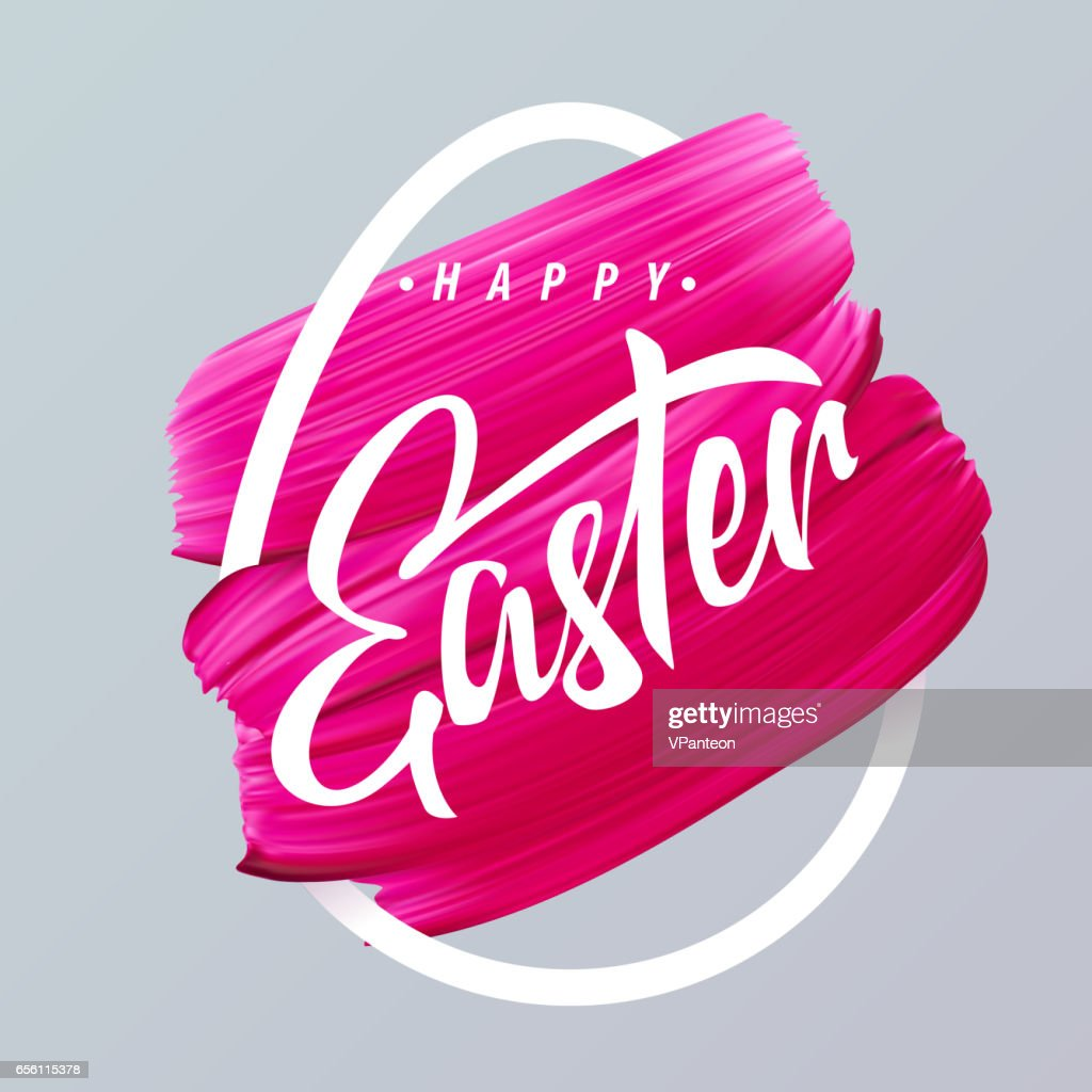 Happy Easter pink lipstick smear in abstract egg silhouette