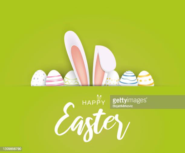 happy easter poster or card with eggs and bunny ears. vector - easter stock illustrations