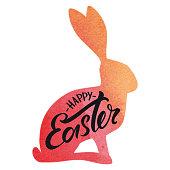Happy easter rabbit watercolor typography