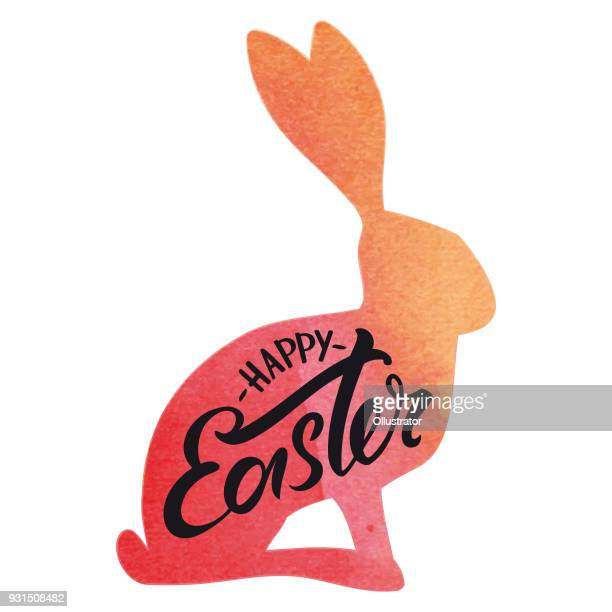 happy easter rabbit watercolor typography - easter bunny stock illustrations
