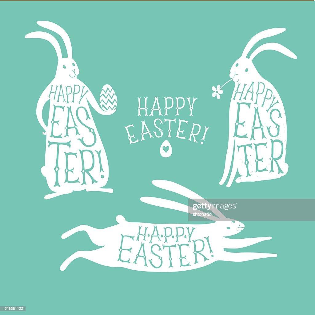 Happy Easter retro title set