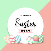Happy Easter sale background template with colorful eggs. Happy Easter big sale banner with colorful Eggs. Vector illustration EPS10.