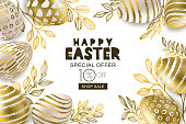 Happy Easter sale banner. Vector golden 3d eggs and gold leves. Design for holiday flyer, poster, party invitation.