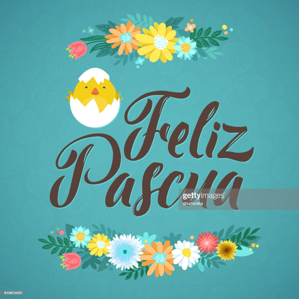 Happy Easter Spanish Calligraphy Greeting Card Modern Brush
