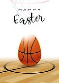 Happy Easter. Sports greeting card. Basketball.