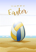 Happy Easter. Sports greeting card. Beach Volleyball.