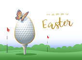 Happy Easter. Sports greeting card. Golf.