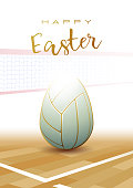 Happy Easter. Sports greeting card. Volleyball
