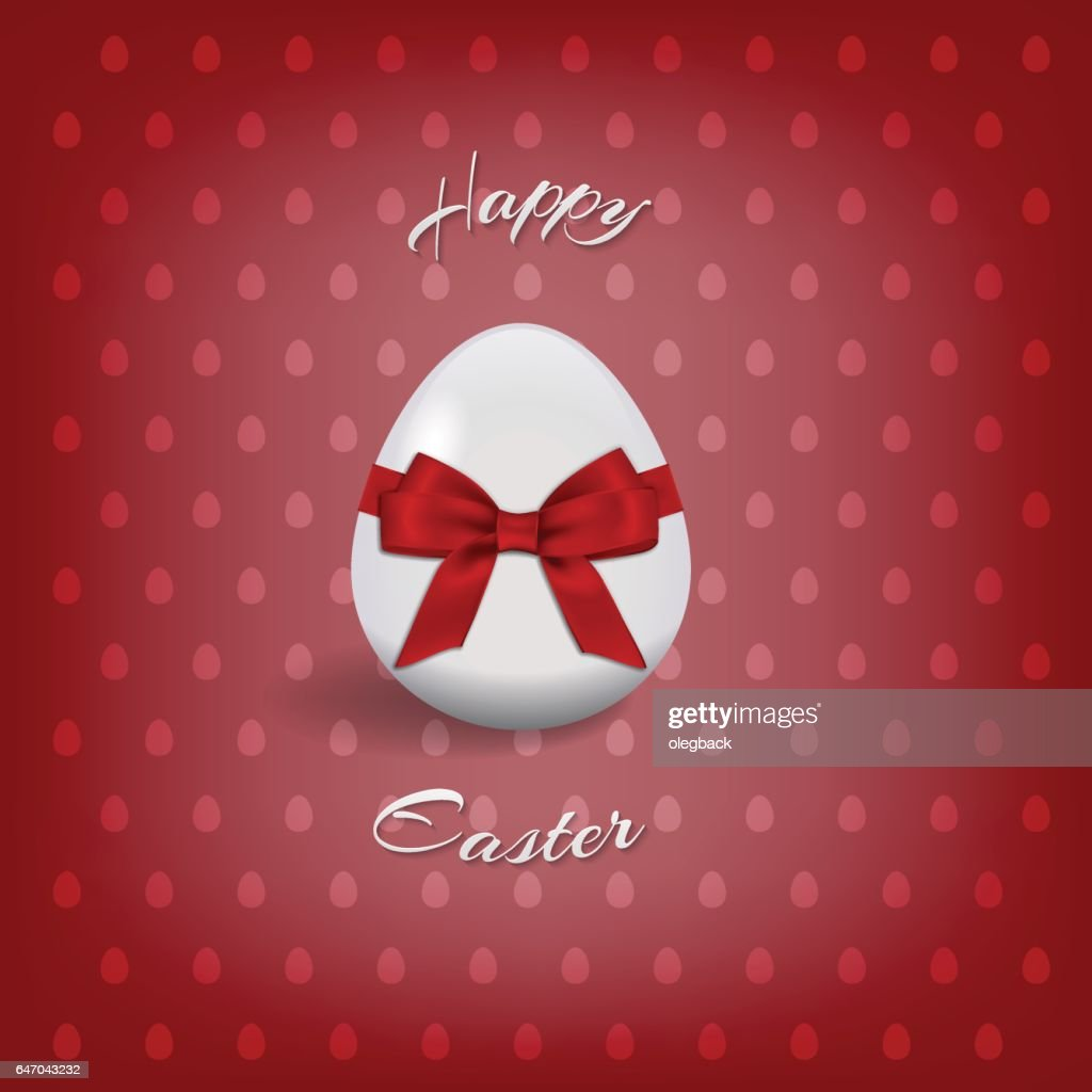 Happy Easter text and easter egg for Pascha holiday card.