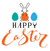 Happy Easter text greeting card. Rabbit Silhouette holding colored egg symbol Easter