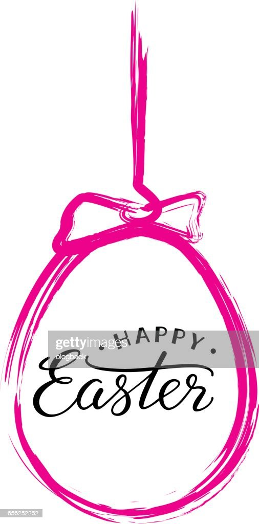 Happy Easter text in pink brush painted easter egg.