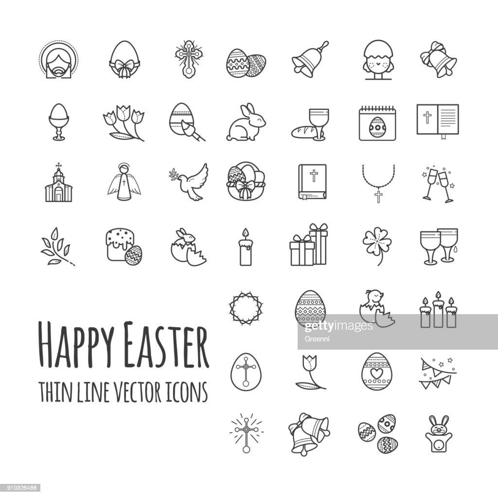 Happy easter thin line icons. Big set, modern vector signs outline style illustration