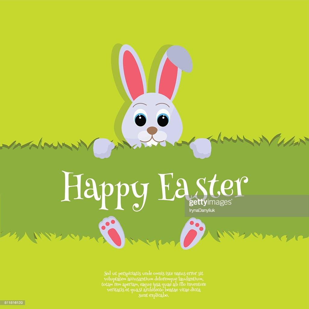Happy Easter Vector Easter bunny looking out a green background