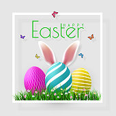 Happy Easter. Vector Easter eggs with grass, butterfly and flowers in frame, isolated on a gray background