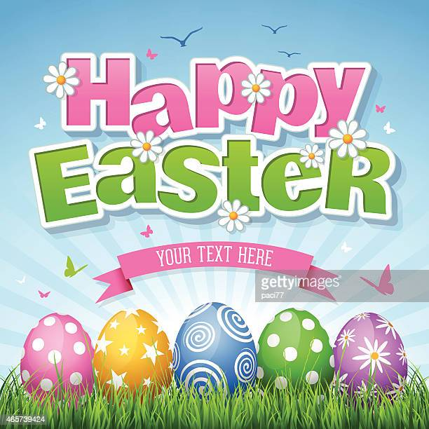 happy easter - easter stock illustrations, clip art, cartoons, & icons