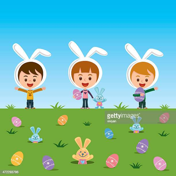 happy easter - easter bunny costume stock illustrations, clip art, cartoons, & icons