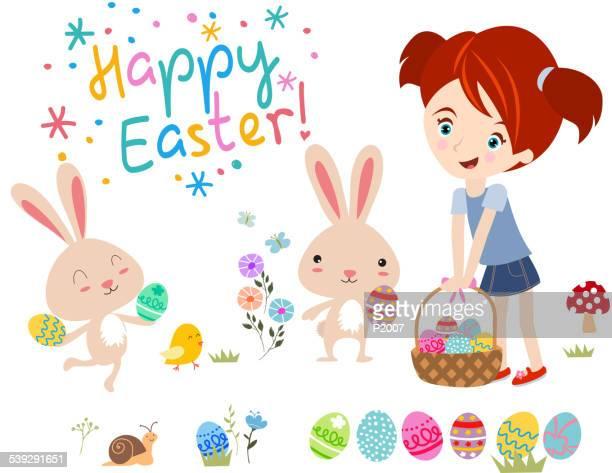 ilustrações, clipart, desenhos animados e ícones de feliz páscoa! - cesta de páscoa
