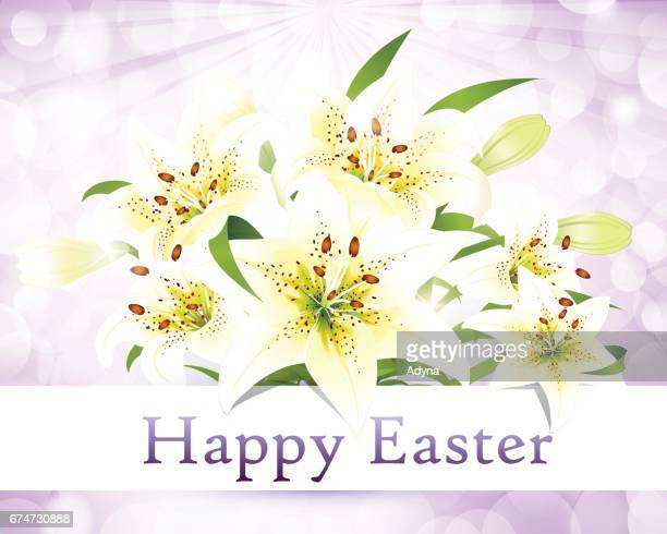 happy easter - easter lily stock illustrations