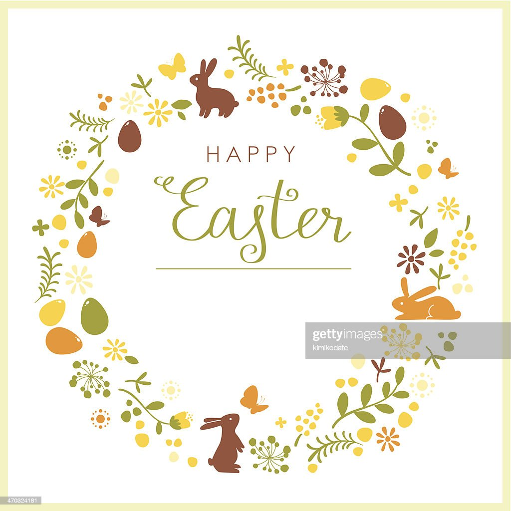 Happy Easter wreath card