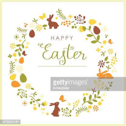 Happy Easter Wreath Card Vector Art