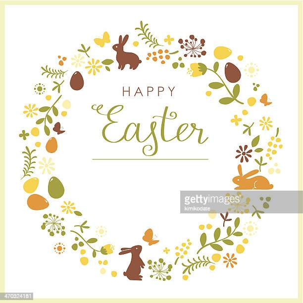 happy easter wreath card - easter bunny stock illustrations