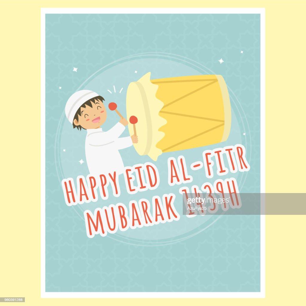 Happy Eid Al-Fitr Greeting Card, Boy Hitting Bedug Vector