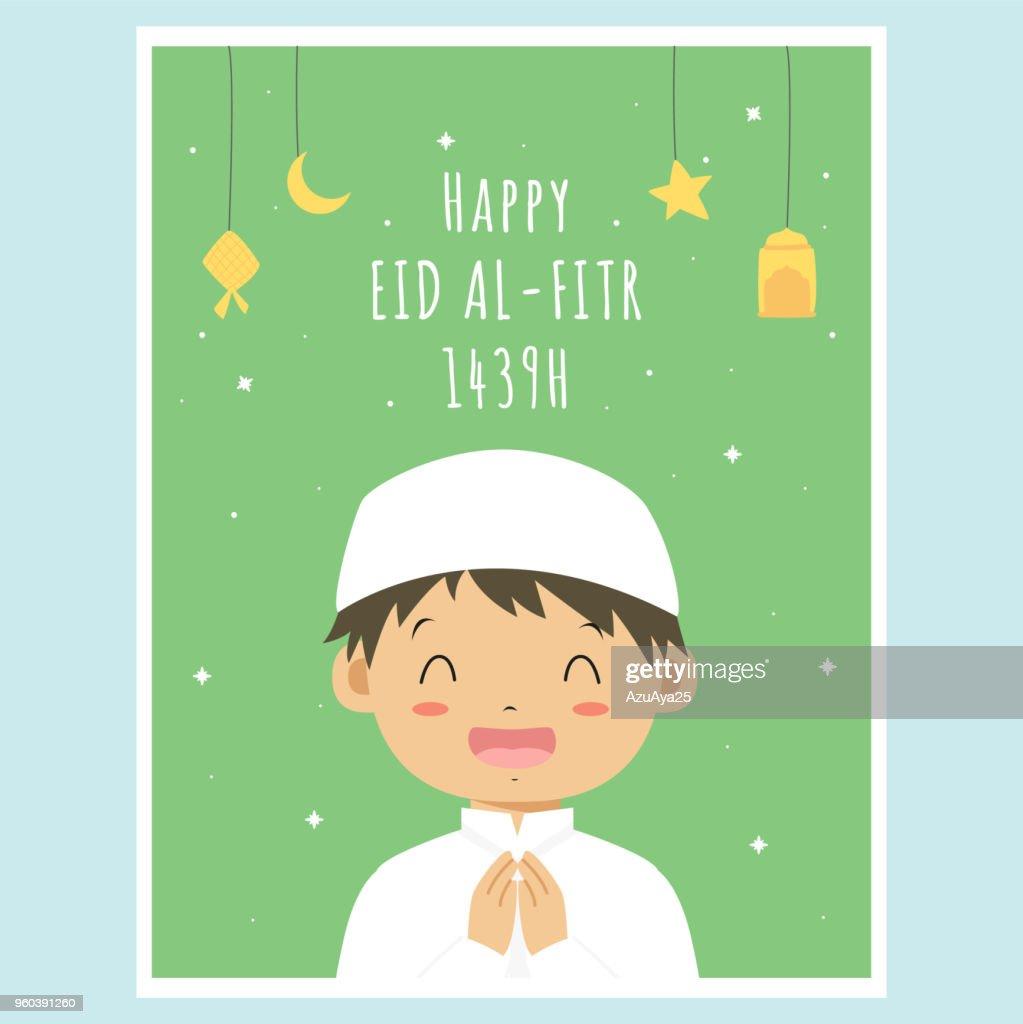 Happy Eid Al-Fitr Greeting Card, Muslim Boy Vector Design