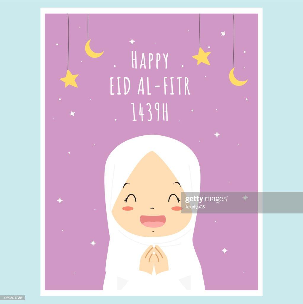 Happy Eid Al-Fitr Greeting Card, Muslim Girl Vector Design