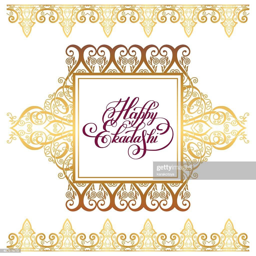 happy ekadashi lettering inscription on luxury gold floral patte