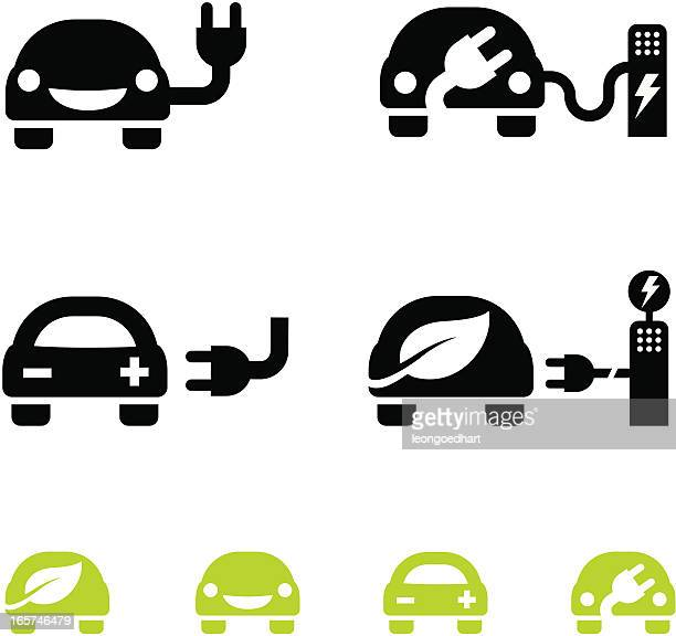 happy electric car icons - vector - hybrid car stock illustrations, clip art, cartoons, & icons