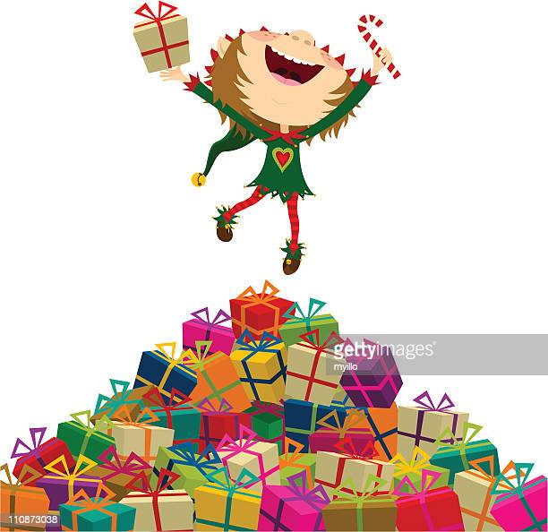 happy elf jumping with christmas presents. merry xmas!!! - girl mound stock illustrations