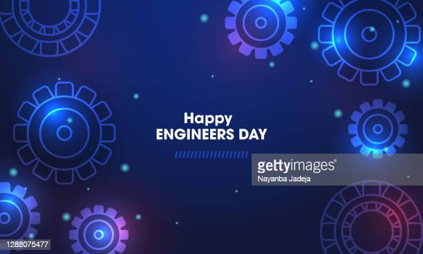 happy engineers day with gear wheels - day stock illustrations